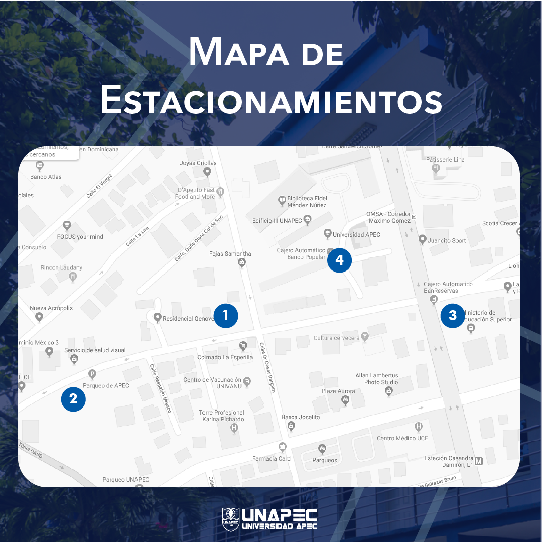 Parqueos disponibles en UNAPEC
